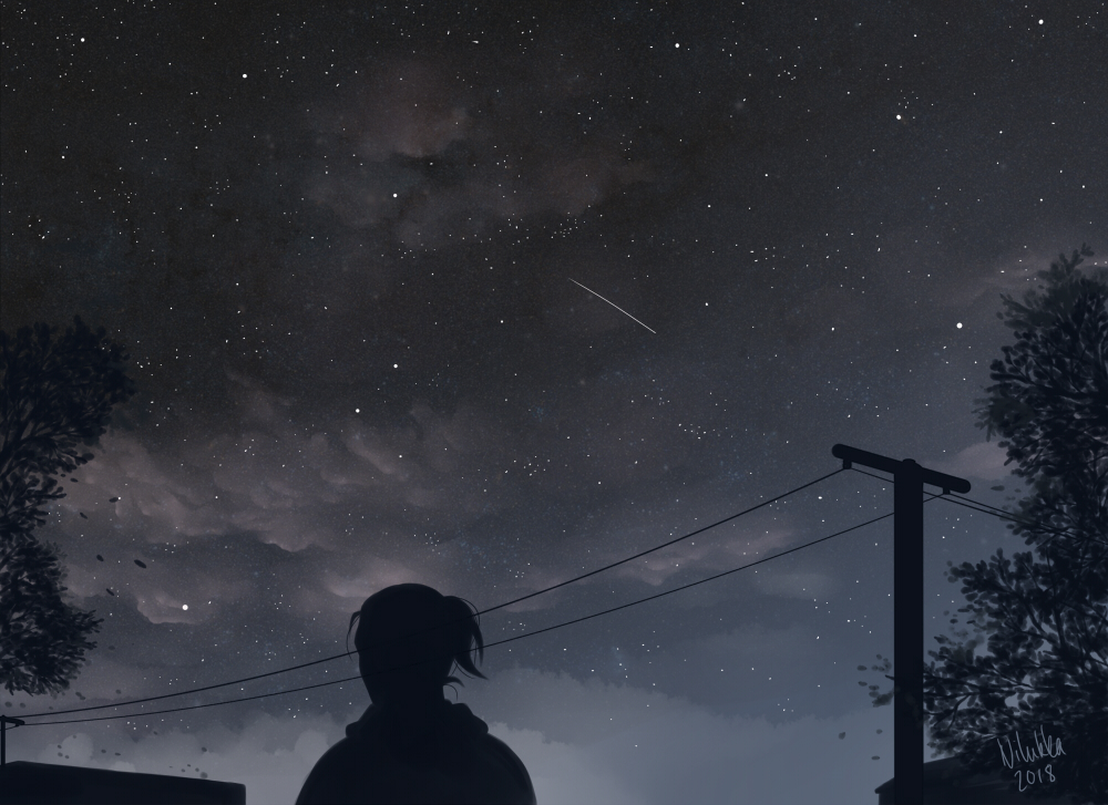 Digital painting of a dark night sky and a shooting star